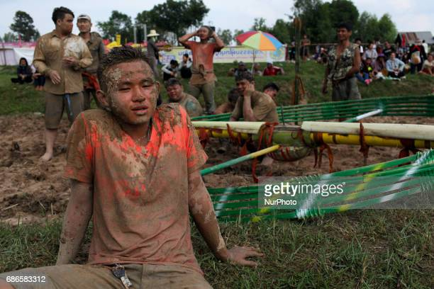 People during the Bun Bang Fai Rock Festival on May 21 2017 in Kalasin Thailand This year 64 rockets were lunched during the festival During the Bun...