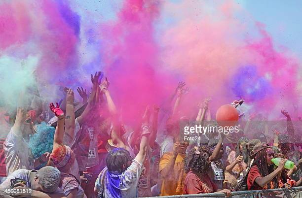 People during The Colour Run Joburg 2014 at Roosevelt High School on September 24 2014 in Johannesburg South Africa The Color Run also known as the...