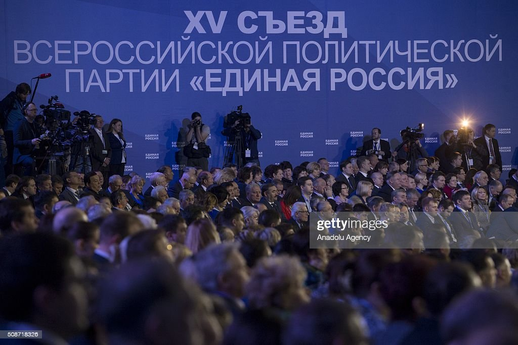 People during the first phase of the XV Congress of 'United Russia' party at ENEA in Moscow, Russia on February 06, 2016.