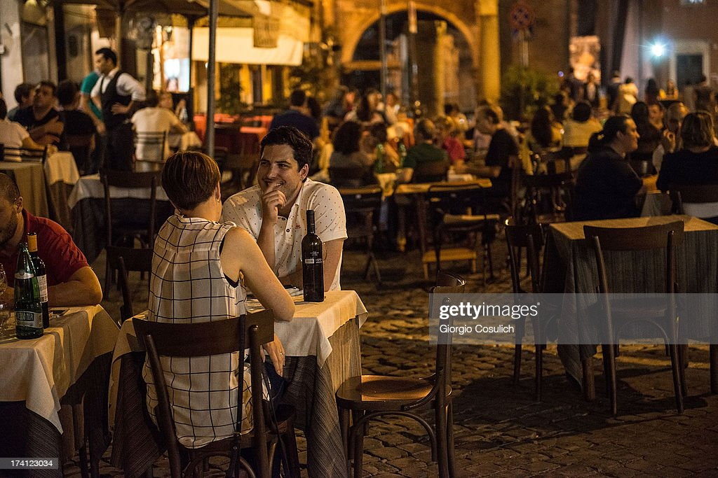 People eat in a Jewish restaurant in the Ghetto district during the opening of the International Festival of Jewish Culture and Literature on July 20, 2013 in Rome, Italy. The International Festival of Jewish Culture will take place July 20 to 25.