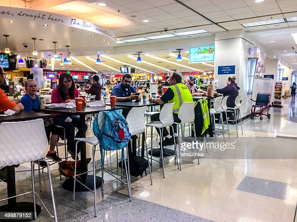 People eating at Atlanta Airport, USA