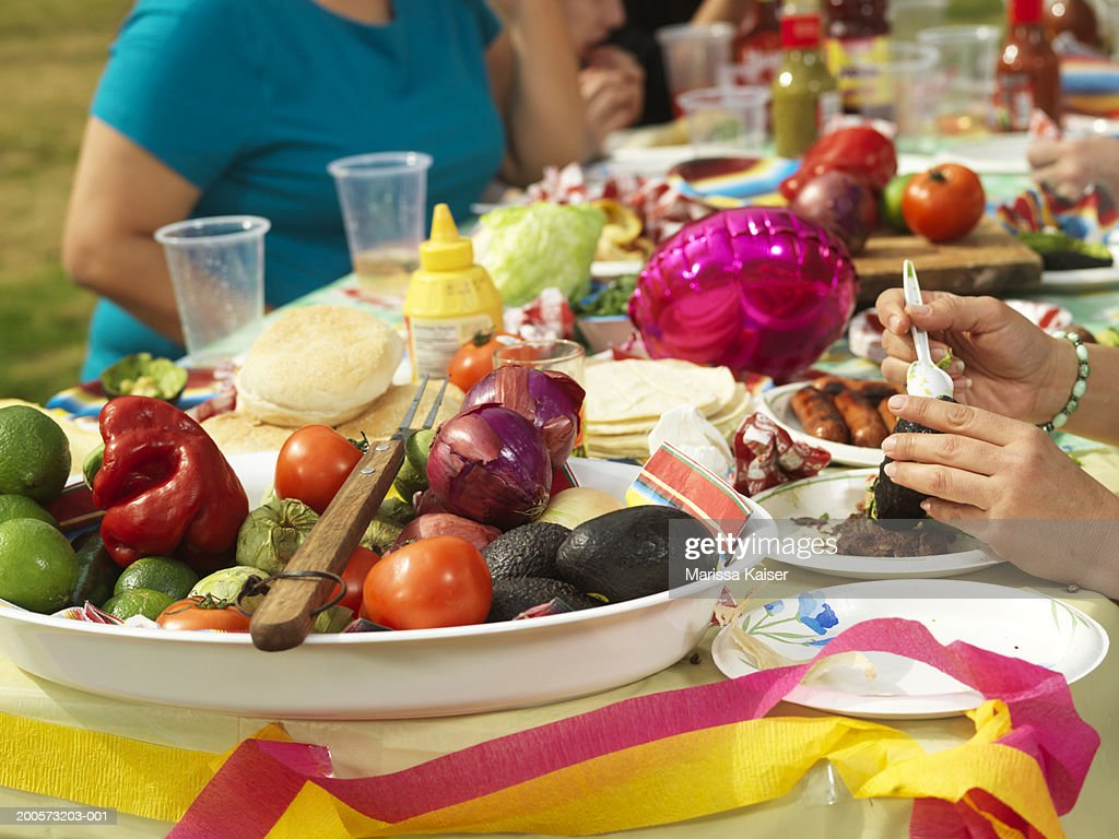 People eating barbecue picnic in park close-up : Stock Photo