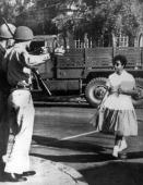 People Education Race USA Little Rock Arkansas pic October 1957 Arkansas National Guardsmen turn away a black student as she attempts to enter...