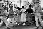 People Education Race USA Little Rock Arkansas pic October 1957 Under the watchful eye of paratroopers of the 101st Airborne Division black girl...
