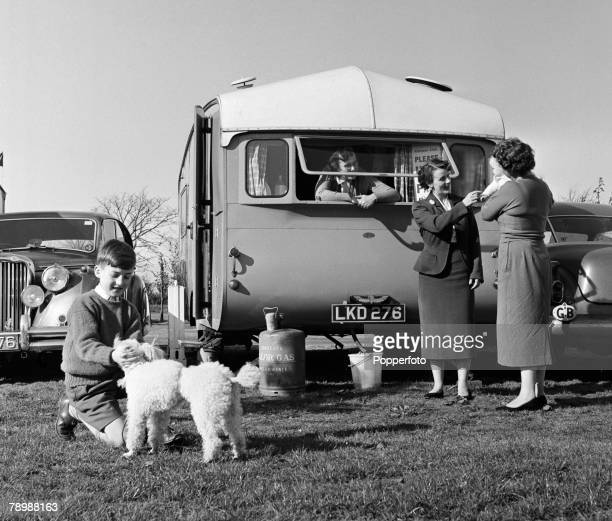 People England A family on holiday at a caravan site