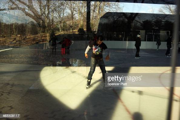 People enjoy a new ice rink at the Samuel J and Ethel LeFrak Center following on a sunny winter afternoon in Prospect Park January 17 2014 in the...