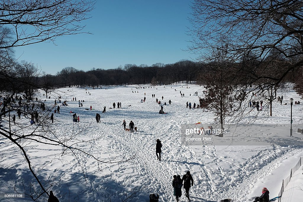 People enjoy a sunny day in the snow in Prospect Park following a blizzard on January 24 2016 in the Brooklyn borough of New York City The day long...