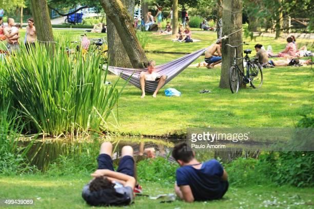 CONTENT] People enjoy at Vondelpark in Amsterdam Netherlands