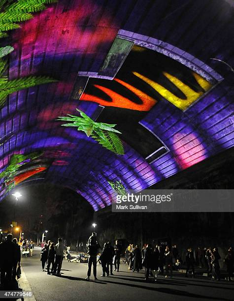 People enjoy BBC Earth's Life Story during Vivid Sydney 2015 at The Argyle Cut on May 26 2015 in Sydney Australia