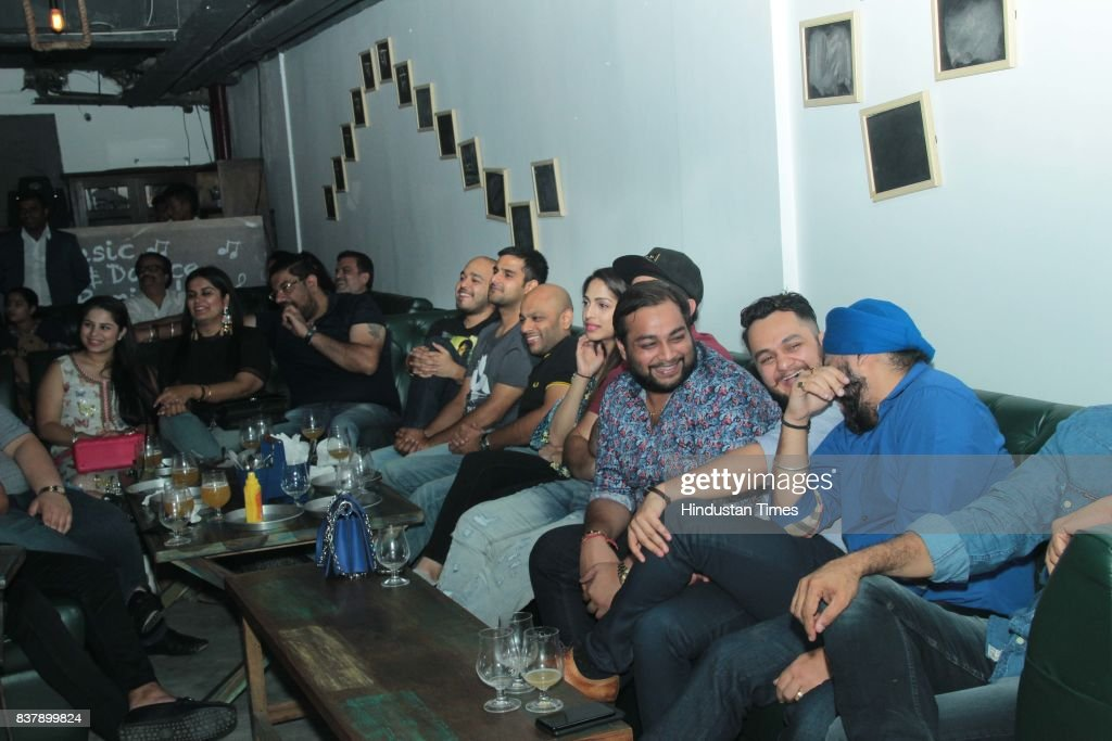 People enjoy during the comedy night organised by The Classroom, Restro-Bar at Leisure Valley Road, Sector-29, on August 16, 2017 in Gurugram, India.