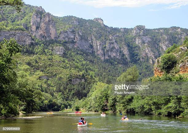 People enjoy on the Tarn river in France
