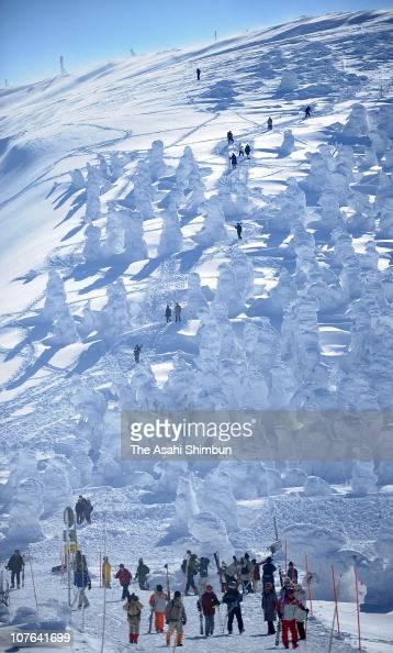 People enjoy skiing among soft rime trees at Zao on January 28 2009 in Yamagata Japan