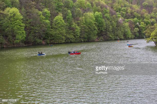 People enjoy sunny and warm Easter weater in Hungary walking in Bukk Mountains 15 kilometres long artificial Lake Hamori formed in the early 19th...