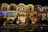People enjoy the Christmas lights on the 700 block of 34th Street in the Hampden community of Baltimore Maryland on December 12 2014 The display...