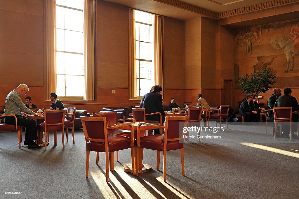 People enjoy the Delegate room, restored in 2004, in Geneva's Palais des Nations on January 12, 2012 in Geneva, Switzerland. The European Headquarters of the United Nations, with its oldest sections built between 1929 and 1938 and originally known as the League of Nations, is studying the work requested for the complex restoration to upgrade its infrastructure and lower its carbon footprint while maintaining its historical and cultural value. The work, which would not begin for several years, could cost more than USD 1 billion.