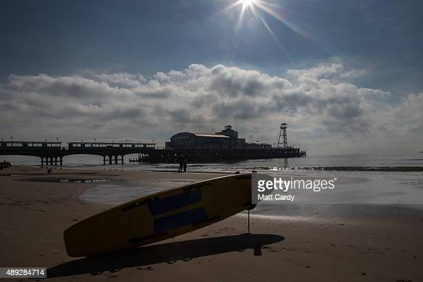 People enjoy the fine weather as Liberal Democrats supporters take part in a beach clean on the second day of the Liberal Democrats annual conference...