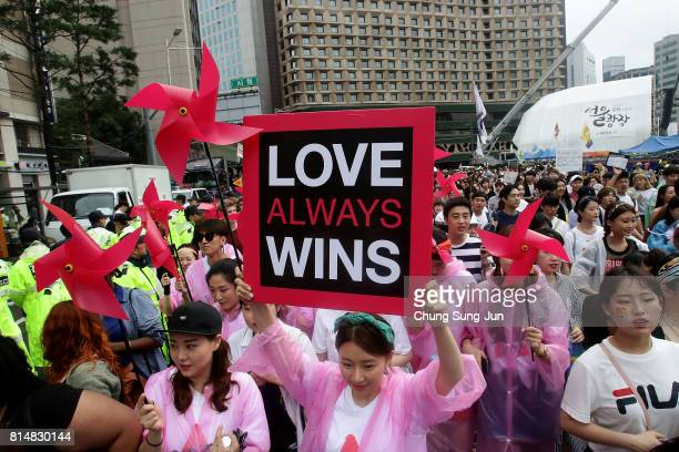 People enjoy the Korea Queer Culture Festival 2017 in front of City hall on July 15 2017 in Seoul South Korea The annual festival promoting the LGBT...