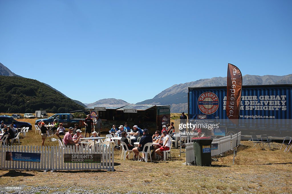 People enjoy the Speights hospitality during the 2013 Speights Coast to Coast on February 8, 2013 in Christchurch, New Zealand.