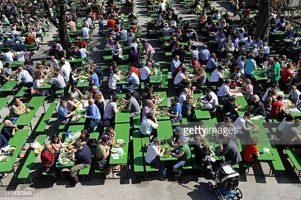 People enjoy the spring sun at the beer garden next to the Chinese Tower at the English Garden in Munich southern Germany on April 3 2011 as...