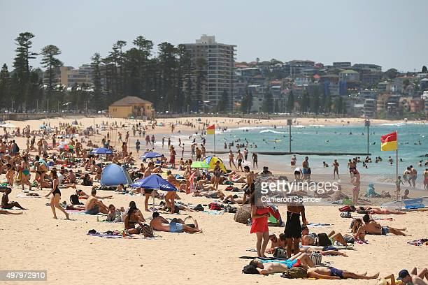 People enjoy the warm temperature at Manly beach on November 20 2015 in Sydney Australia The East coast of Australia has has been experiencing a...