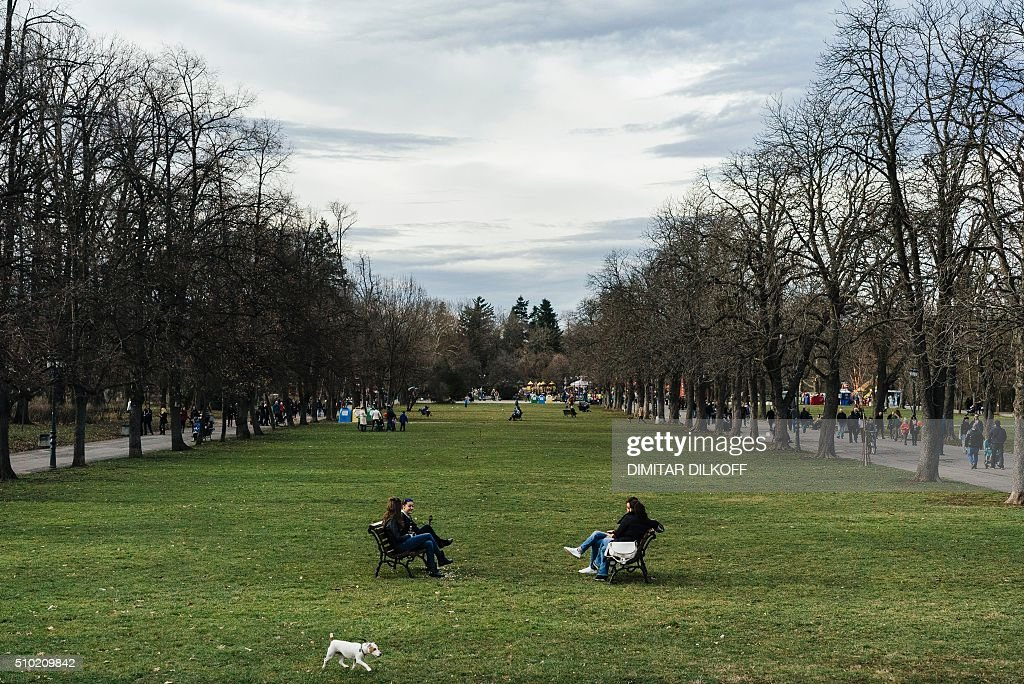 People enjoy unusual warm weather in a park of the Bulgarian capital Sofia on February 14, 2016. / AFP / DIMITAR DILKOFF