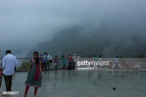 People enjoying in beautiful clouds on the way to Vaishnodevi : Stock Photo
