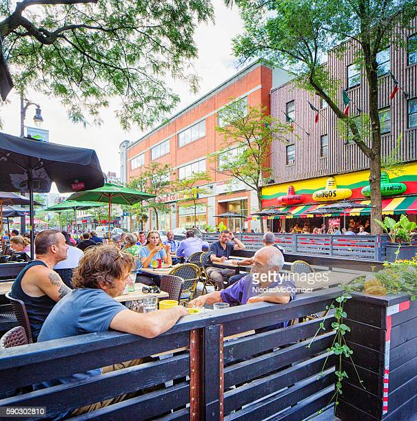 People enjoying lunch on a west Montreal terrasse