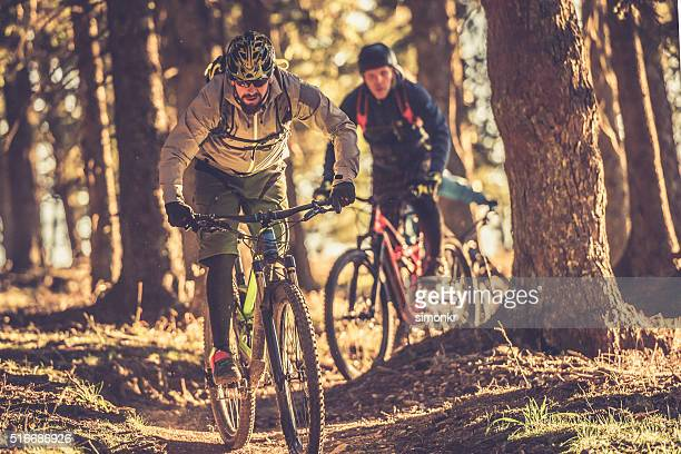 People enjoying mountain biking