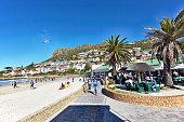 People enjoying the beachside Town of Fish Hoek