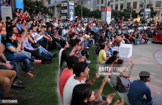 People enjoying the Mazhab Dor and Unplugged bands' performance at Friday Jam season4 organised by Hindustan Times at CyberHub on July 21 2017 in...