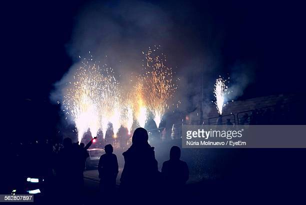 People Enjoying With Fireworks At Night