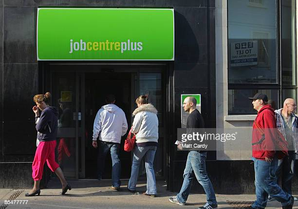 People enter a Job Centre on March 18 2009 in Bristol England Official figures published today show that UK unemployment has risen above two million...