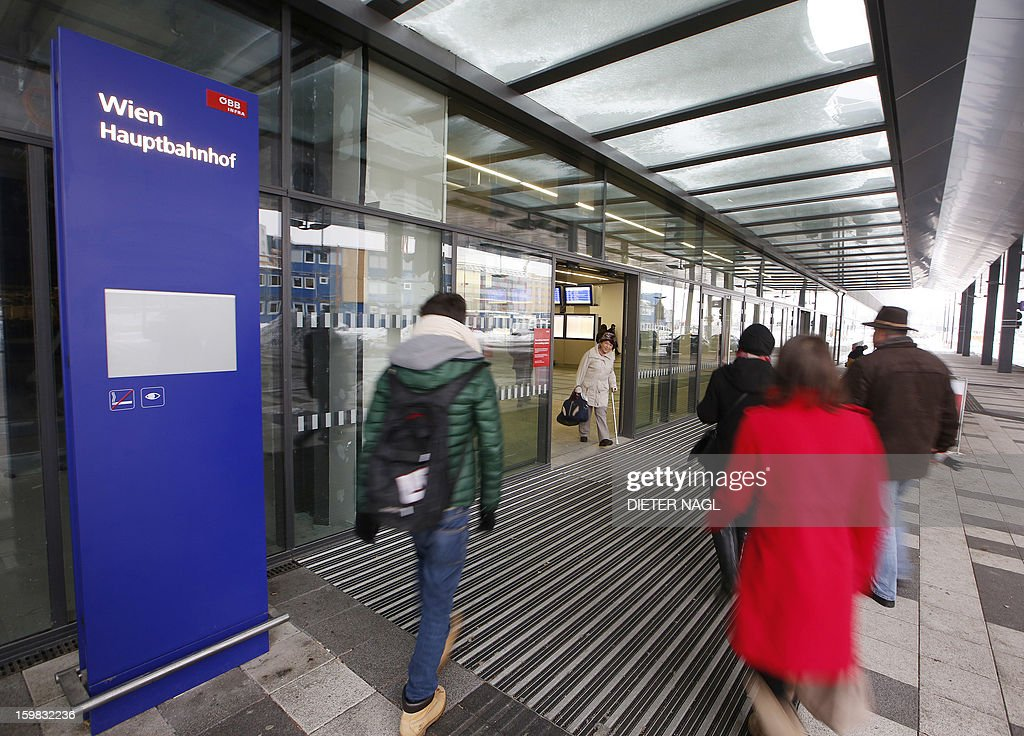 People enter the new Vienna central railway station on January 21, 2013 in Vienna, Austria. AFP PHOTO / DIETER NAGL