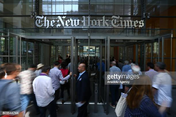 People enter the New York Times building in New York United States on June 29 2017 NYT employees start a temporary strike against downsizing and...