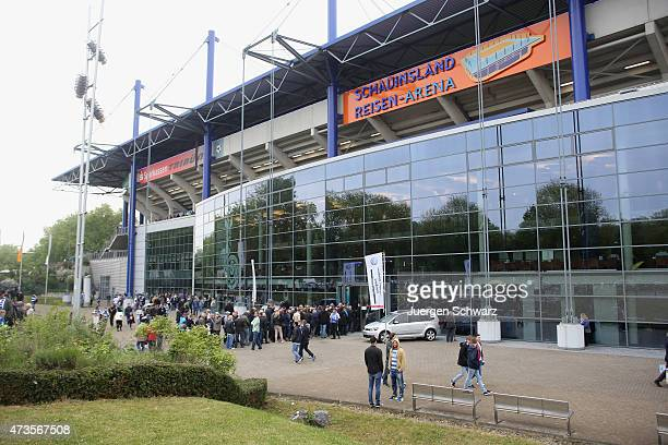 People enter the stadium to watch the 3rd Bundesliga match between MSV Duisburg and Holstein Kiel at SchauinslandReisenArena on May 16 2015 in...