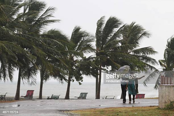 People evacuated as Cyclone Hudhud is expected to hit the coast of Andhra Pradesh and Odisha tomorrow at Bheemili village on October 11 2014 in...