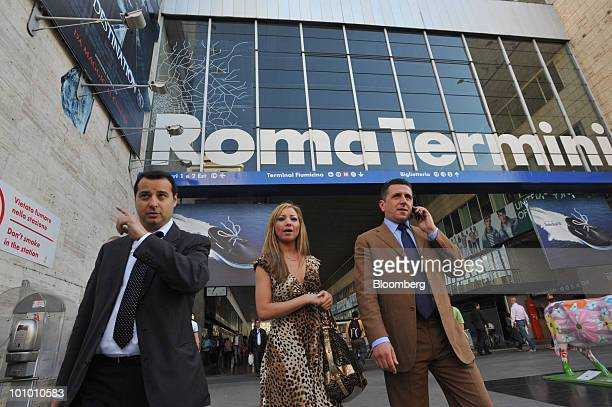 People exit Termini train station in Rome Italy on Wednesday May 26 2010 Prime Minister Silvio Berlusconi said Italy's planned 249 billion euros of...