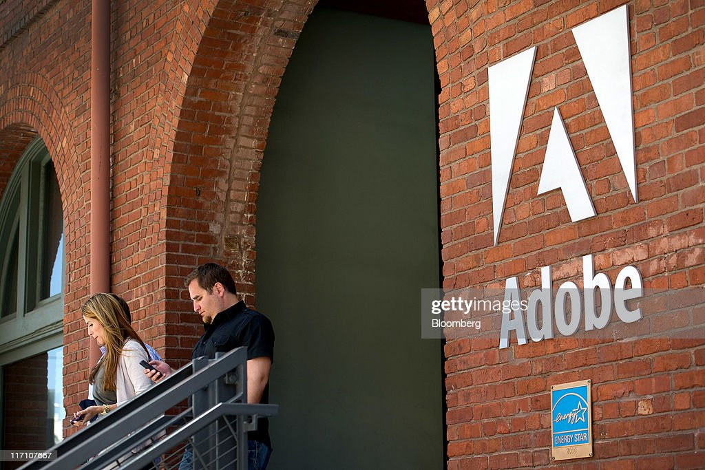 people exit the adobe systems inc office in san francisco california us adobe san francisco office