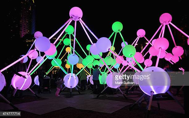 People explore Affinity during Vivid Sydney 2015 at Circular Quay on May 26 2015 in Sydney Australia