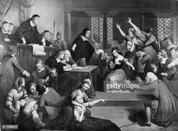 1692 People fainting and causing disorder in a courtroom during the trial of suspected witch George Jacobs