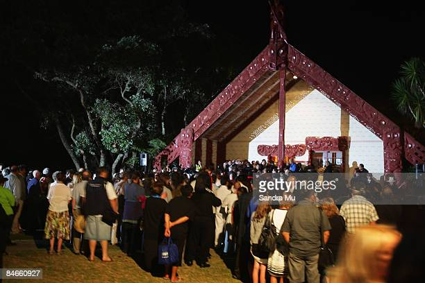 People file into the Upper Marae for the dawn service at the Treaty Grounds on February 6 2009 in Waitangi New Zealand Waitangi Day is the national...