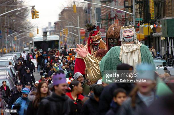 People fill the street during the Three Kings Day Parade in East Harlem The parade which starts at Fifth Ave and E 106th St and moves uptown...