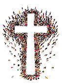Large crowd of people walking to and forming the shape of a cross on a white background with room for text or copy space in the cross.