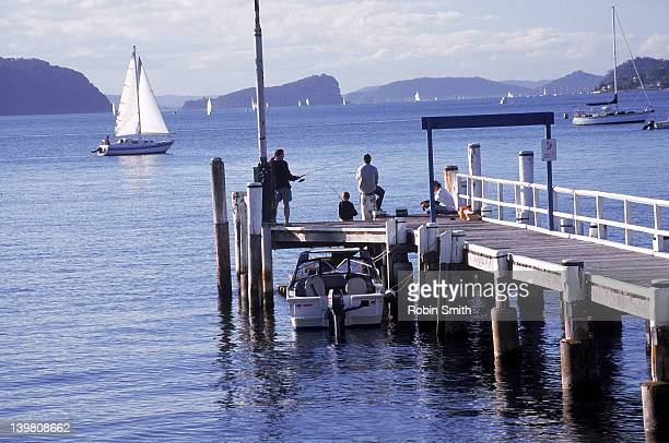 People fishing from Taylors Point jetty, Pittwater, Sydney