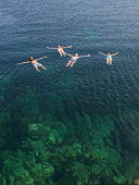 People floating in the sea