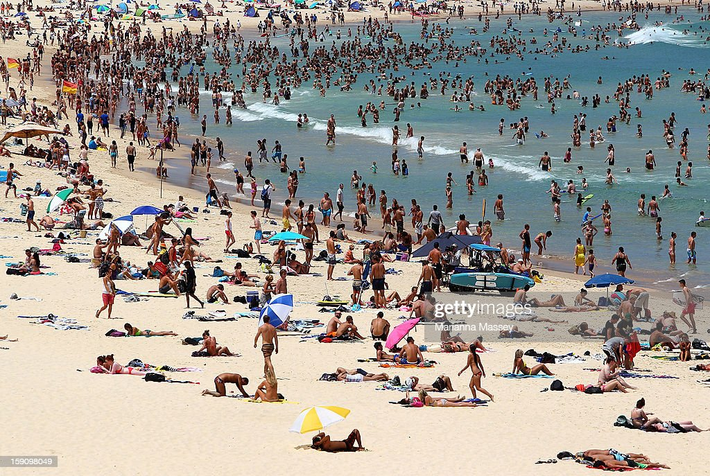 People flock to Bondi Beach to cool off on January 8, 2013 in Sydney, Australia. Temperatures are expected to reach as high as 43 degrees around Sydney today.