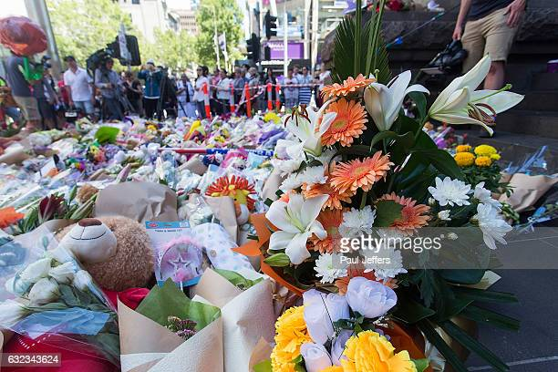 People flocked to Melbourne GPO to lay floral tributes and mourn for the victims of the Bourke Street attack on January 22 2017 in Melbourne...