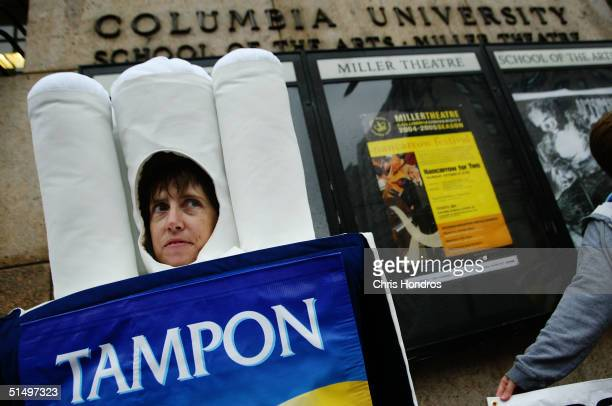 People for the Ethical Treatment of Animals activist Jen Huls stands dressed as a tampon outside of Columbia University during a protest October 19...