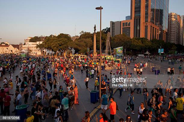 People from all over the World have come down to the Olympic boulevard to enjoy the games at this live site Praca Maua and Praca XV Centro Rio de...