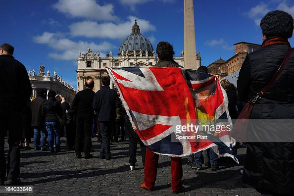 People from around the world attend the Inauguration Mass for Pope Francis in St Peter's Square on March 19 2013 in Vatican City Vatican The mass is...